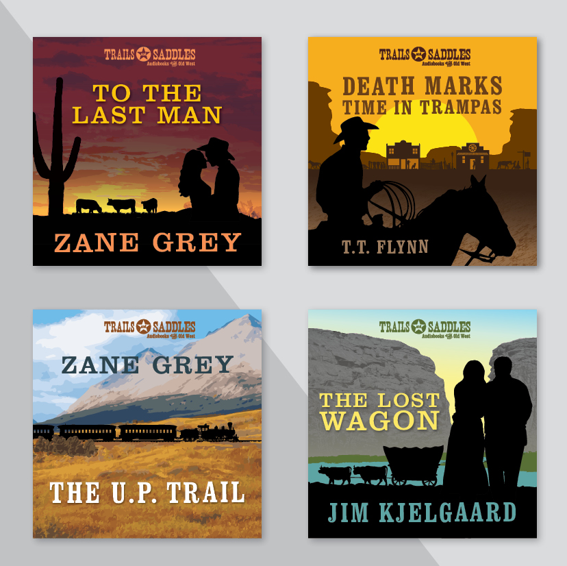 Western genre audio book covers